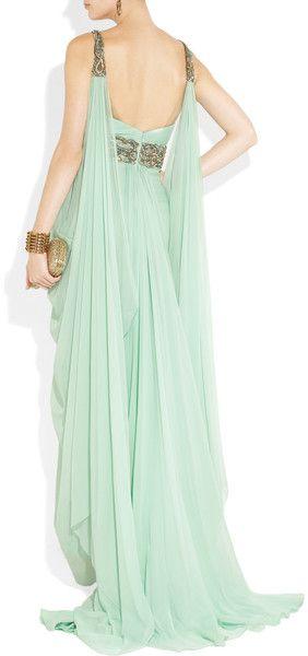 Women\'s Green Crystal-embellished Silk-chiffon Gown | Kleider ...