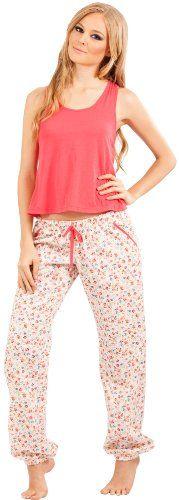 fc87d984b689 Adriana Arango Women s Pajama Set Trendy Tank Crop Top Pants ...