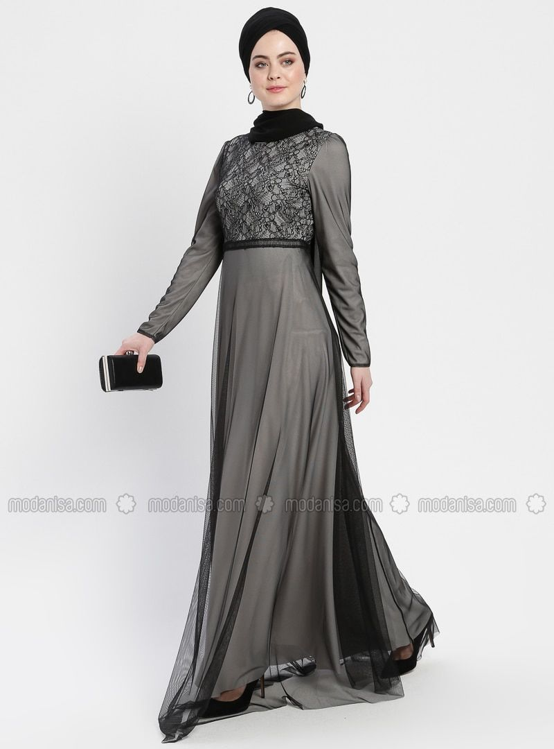 f0ef6f77e93c Şanlı Black Gray Multi Fully Lined Crew neck Muslim Evening Dress # eveningdress #muslimeveningdress #