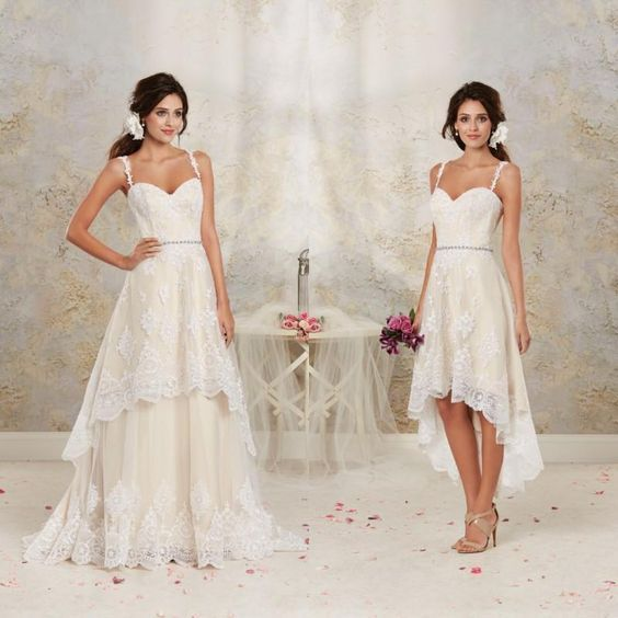 2016 Boho Champagne High Low Wedding Dresses With Spaghetti Straps Lace Appliq Wedding Dresses High Low Wedding Dress Detachable Skirt Detachable Wedding Dress