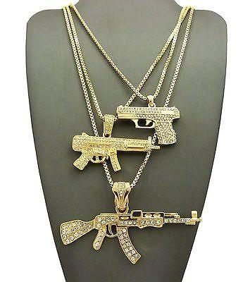 Men Hip Hop Iced Out Gun   Machine Gun Pendant W  Box Chain 3 Necklace Set  G038G 2735c38fe628