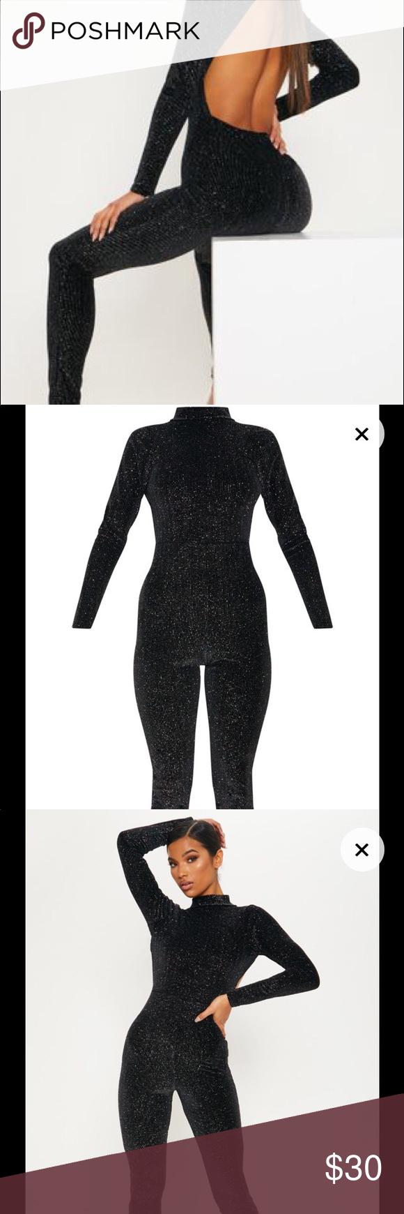 35706de04293 Pretty Little Thing Black Velvet Glitter Jumpsuit Black Velvet Glitter  Stripe Backless Jumpsuit Give your weekend