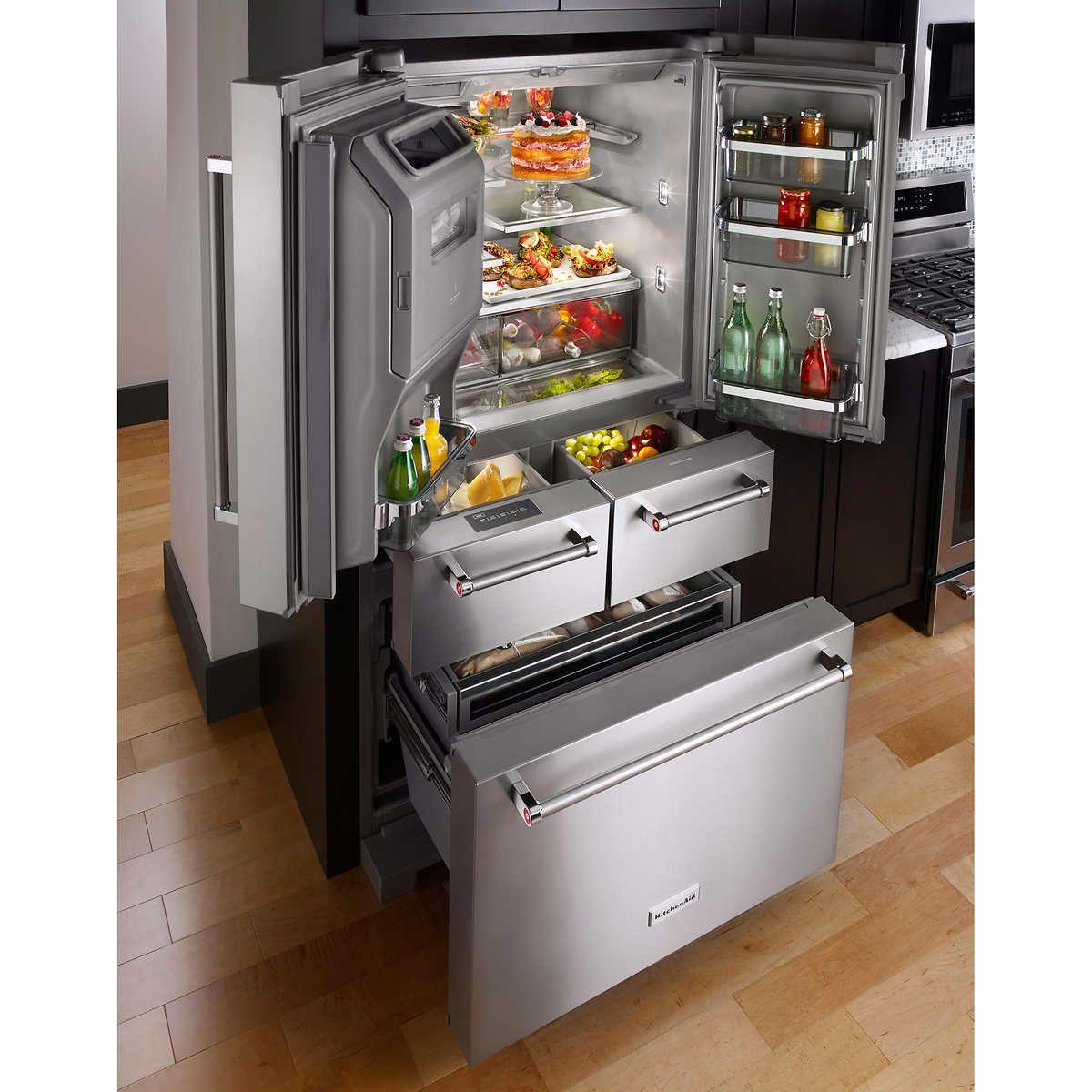 Kitchenaid 25 8cuft 36 Multi Door Freestanding Refrigerator With Platinum Interior Design Outdoor Kitchen Appliances Kitchen Renovation Kitchen Design