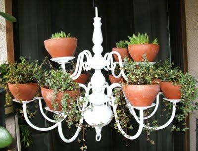 From chandelier to hanging planter. Great idea which I will be trying out this Spring/Summer! jgrogg