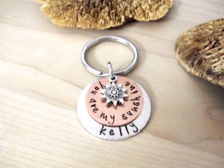 Grandma keychain you are my sunshine hand stamped