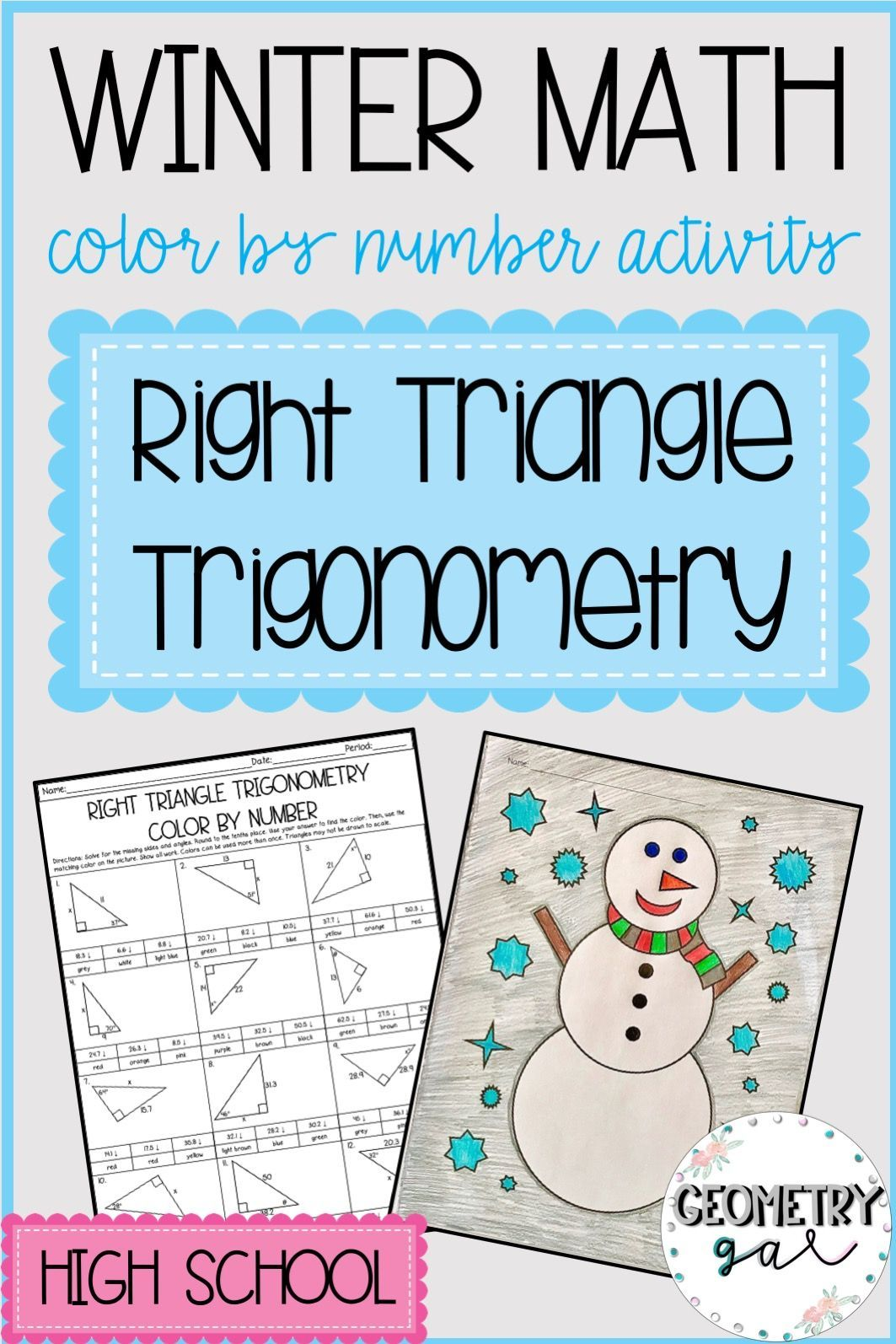Holiday Math Right Triangle Trigonometry Great For