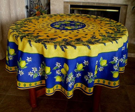Traditional French Provencal Lemons Yellow Navy Round Cotton Tablecloth