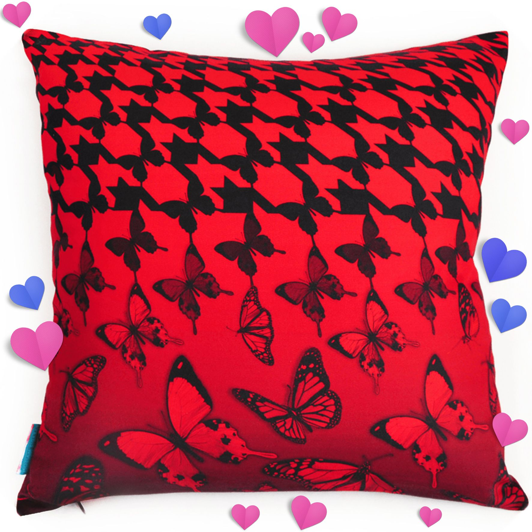 Butterfly brigade scarlet red pillow covers butterflies and throw