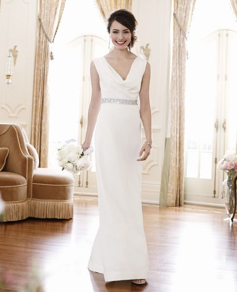 Cowl Neck Wedding Gown: Bejeweled Cowl Neck