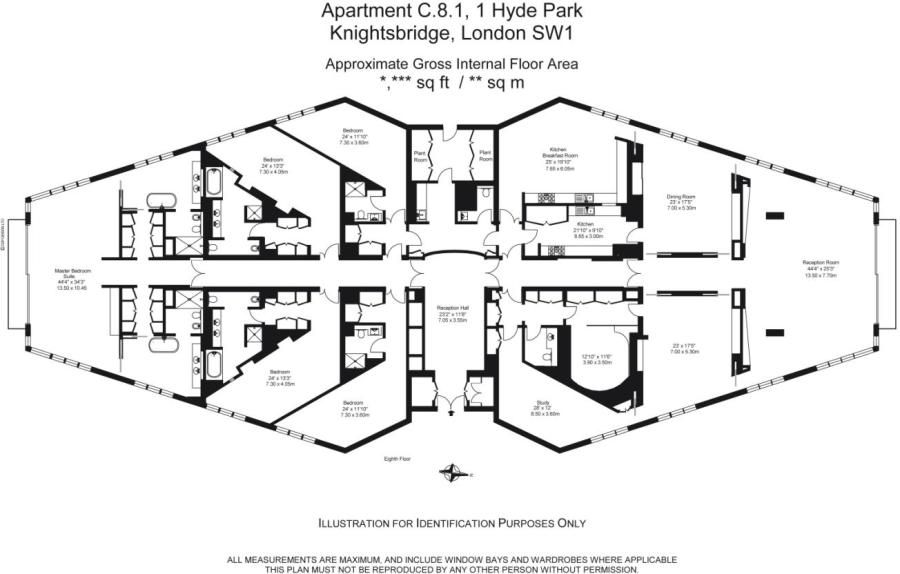 Floorplan 5 bedroom apartment for sale One Hyde Park