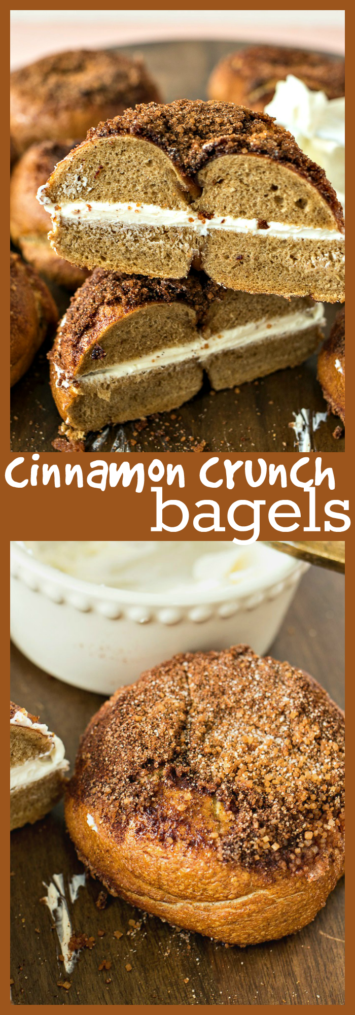 Cinnamon Crunch Bagels – Chewy cinnamon bagels are baked with a sugar and cinnamon mixture on top to make a yummy, crunchy coating. #recipe #bagel #bread #homemade #cinnamon #Panera #breakfast #brunch #easter #christmas