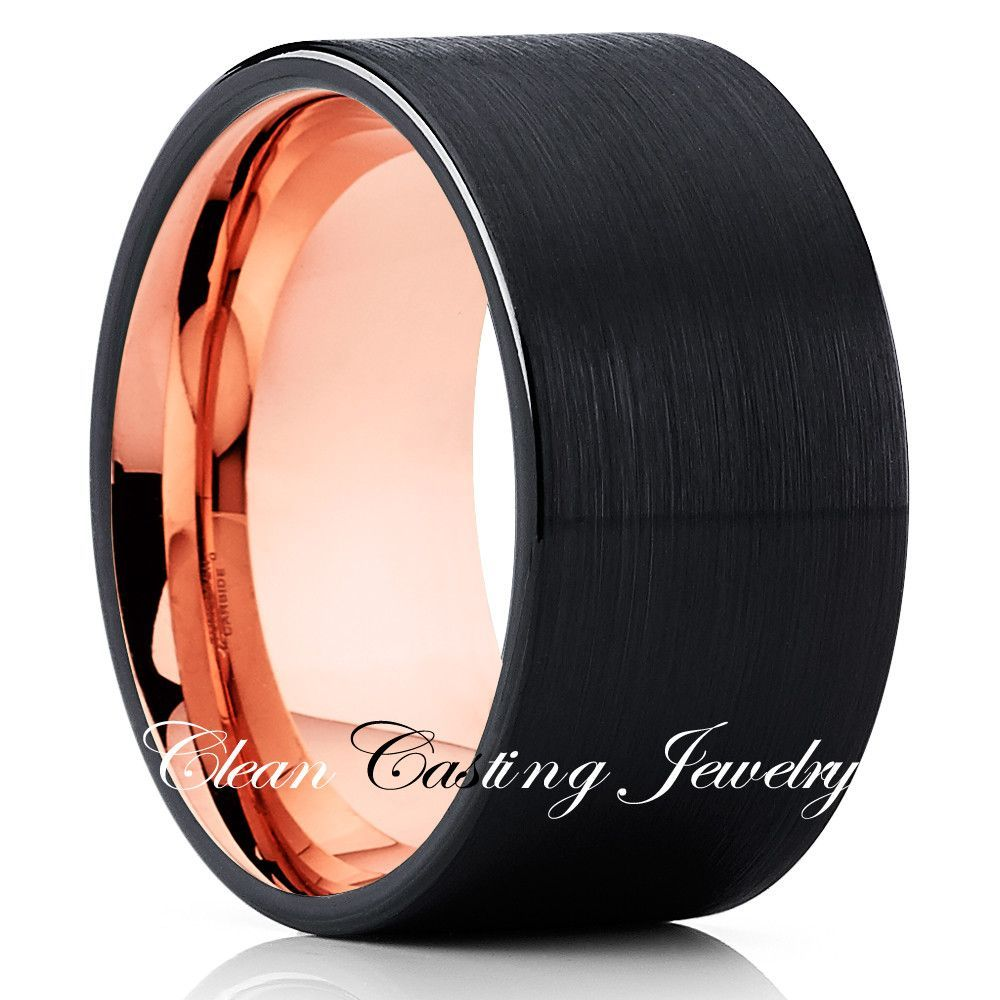 12mm Rose Gold Tungsten Wedding Band Rose Gold Ring Black Ring Gold Tungsten Wedding Bands Rose Gold Tungsten Tungsten Wedding Bands