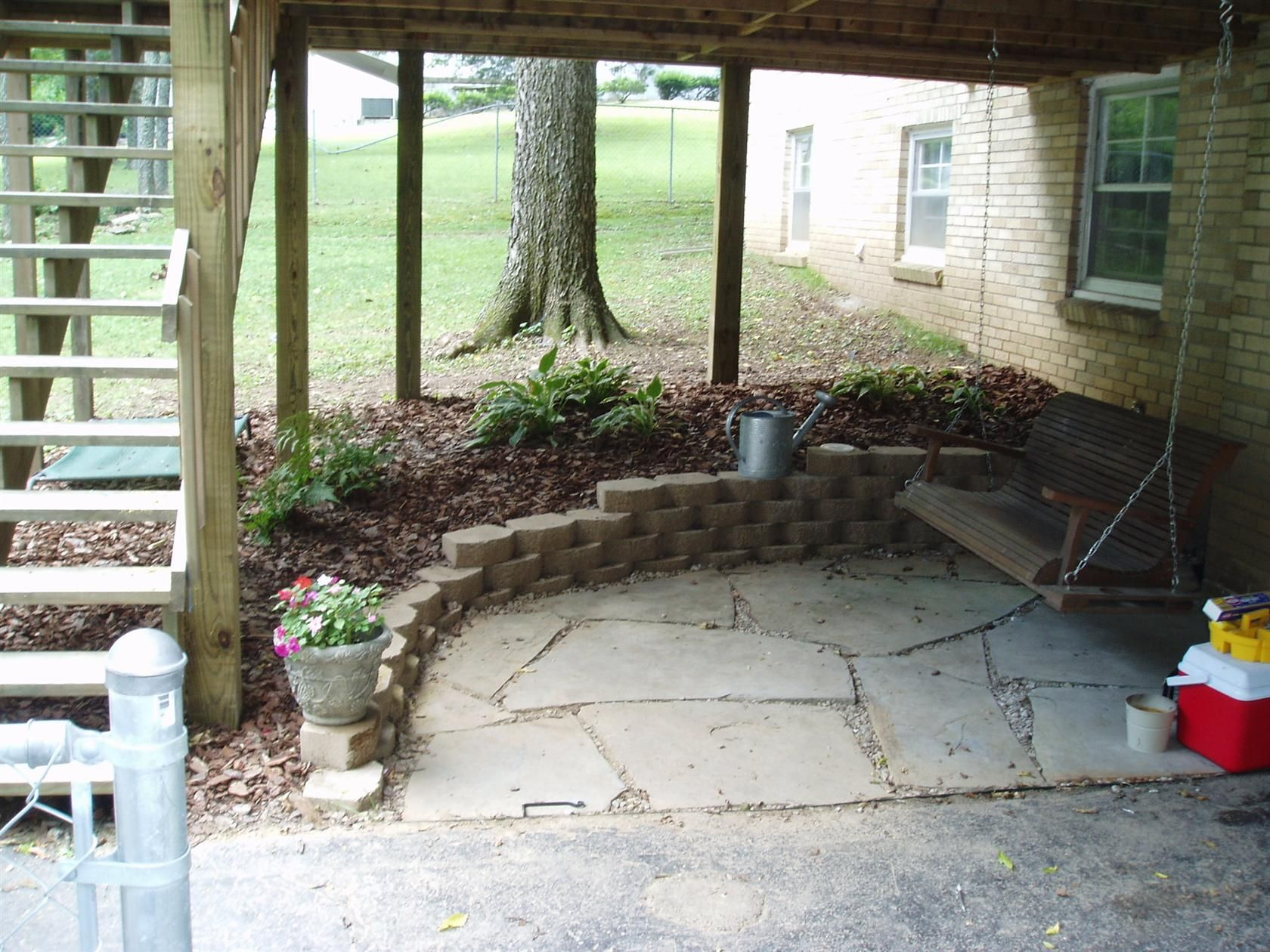 under the deck swing and patio | Deck remodeling | Pinterest ...