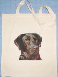 BLACK LABRADOR - NATURAL COTTON SHOULDER BAG tote DOG