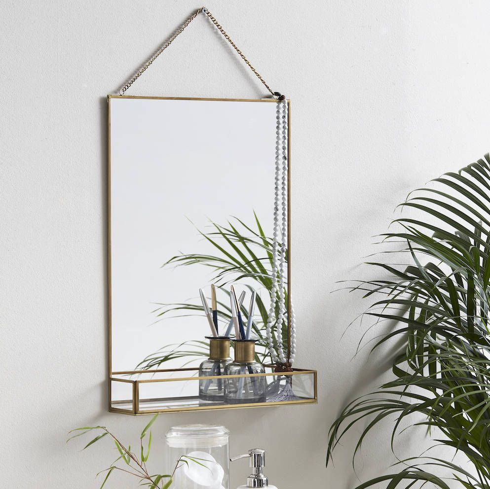 Golden Slim Rectangle Mirror With Glass Shelf Wall