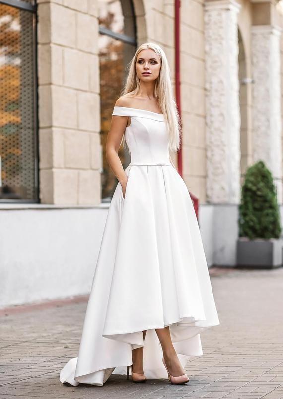 Simple Wedding Dress Casual Wedding Dress White Satin Wedding