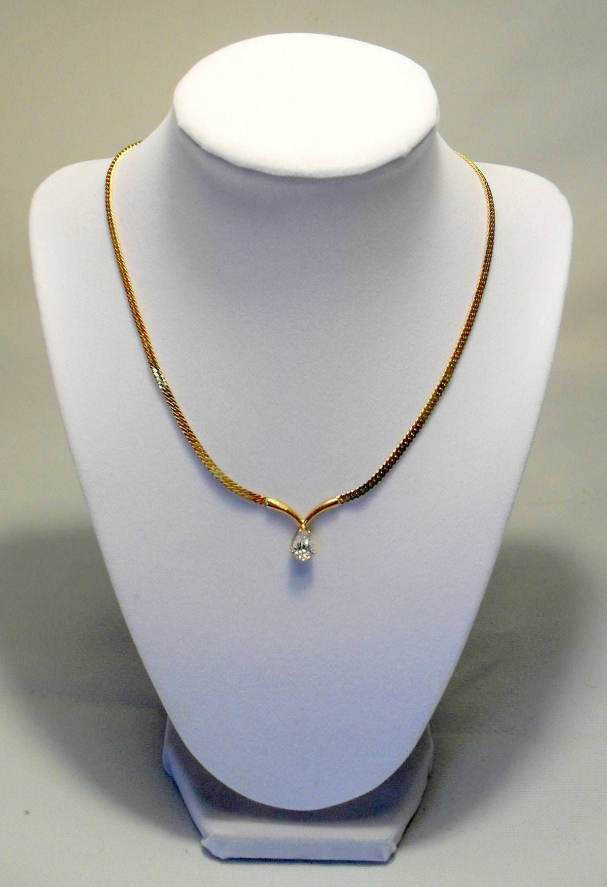 1999 Cz And Gold Pendent Gold Pendent Beaded Necklace Jewelry