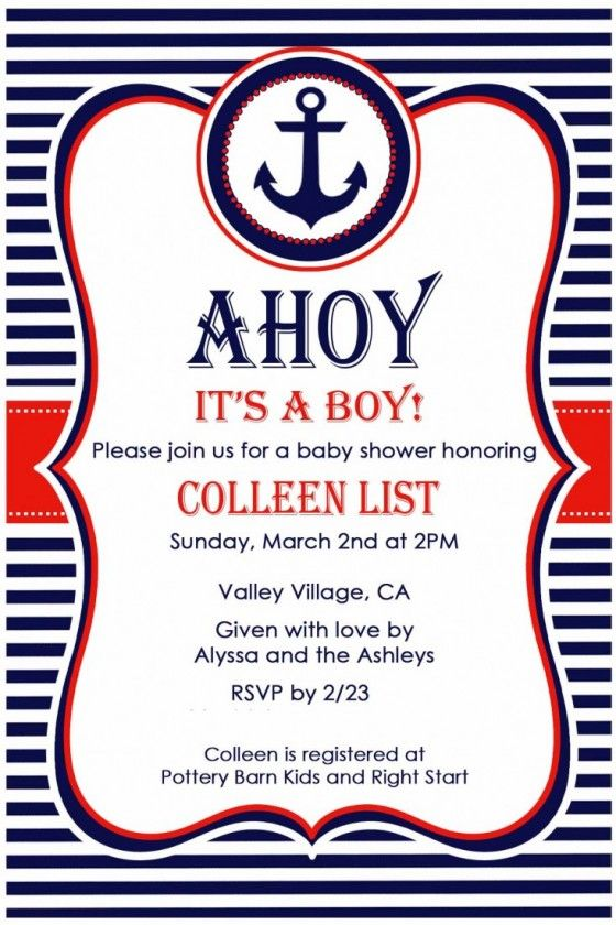 Ahoy Itu0027s A Boy Baby Shower Anchor Invitations | Move LifeStyle