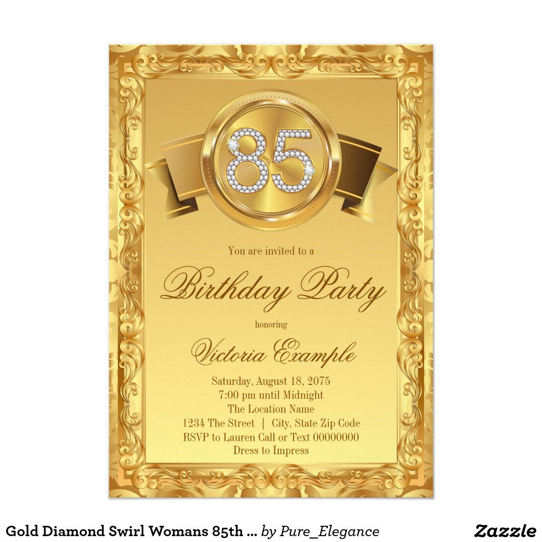 Gold Diamond Swirl Womans 85th Birthday 5x7 Paper Invitation Card