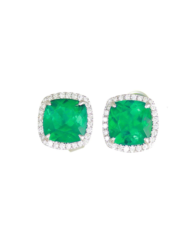 f19094eac Frederic Sage 18K White Gold Cushion Lab-Created Emerald & Diamond Halo  Stud Earrings | Neiman Marcus