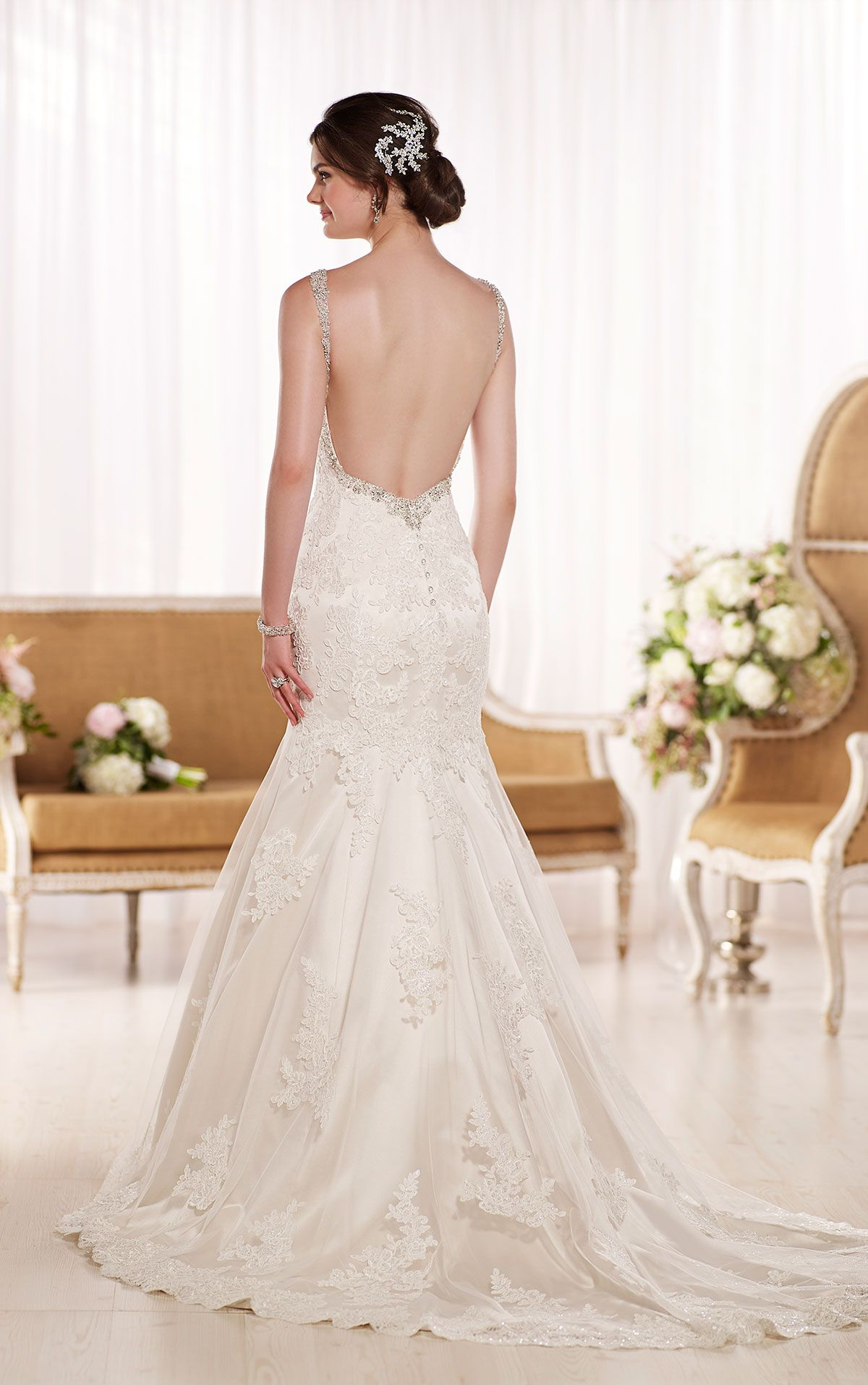 Timeless low back wedding dress from essense of australia style