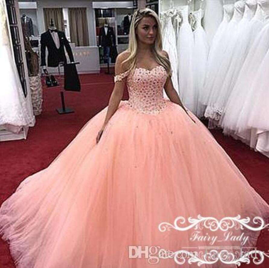 2018 Puffy Ball Gown Pink Quinceanera Dresses Sexy Off Shoulder Rhinestone  Long Vestidos De 15 Anos Sweet 16 Girls Pageant Dress Prom Gowns 519c505cc1db