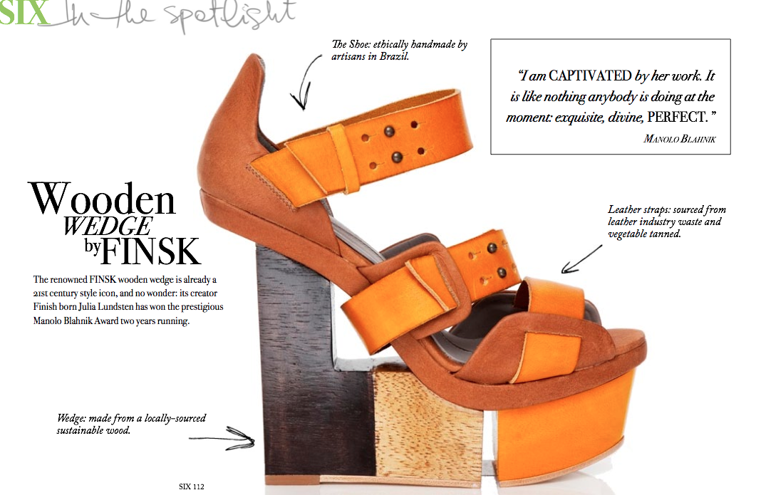 ethical footwear promoted in the ethically dedicated SIX magazine, this is a detailed diagram, regarding where every part of the shoe was sourced from and how!   http://www.ecouterre.com