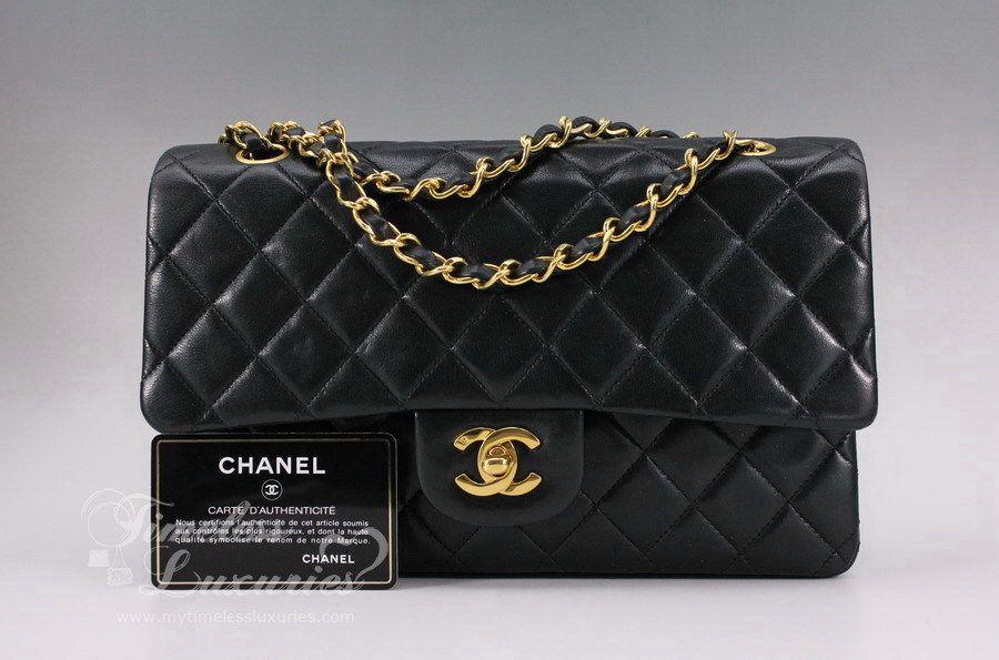 c44d2b036377 Timeless Luxuries - CHANEL Black Lambskin Classic Double Flap Bag Gold Hw