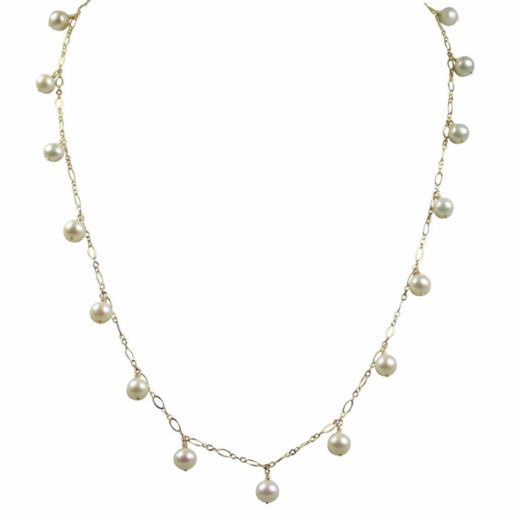 Dangle Station Necklace | Freshwater Pearls | 14K Gold Filled