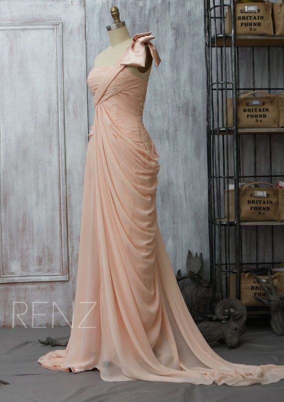 2015 new Elegant Coral Pink One shoulder Bridesmaid by RenzRags
