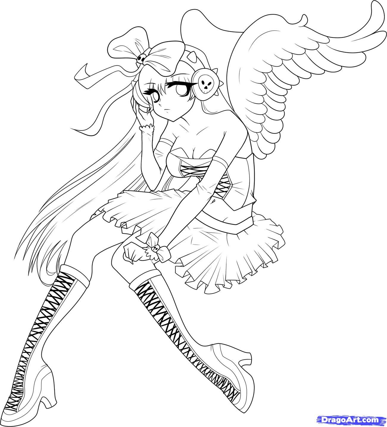 anime wings Colouring Pages Angels