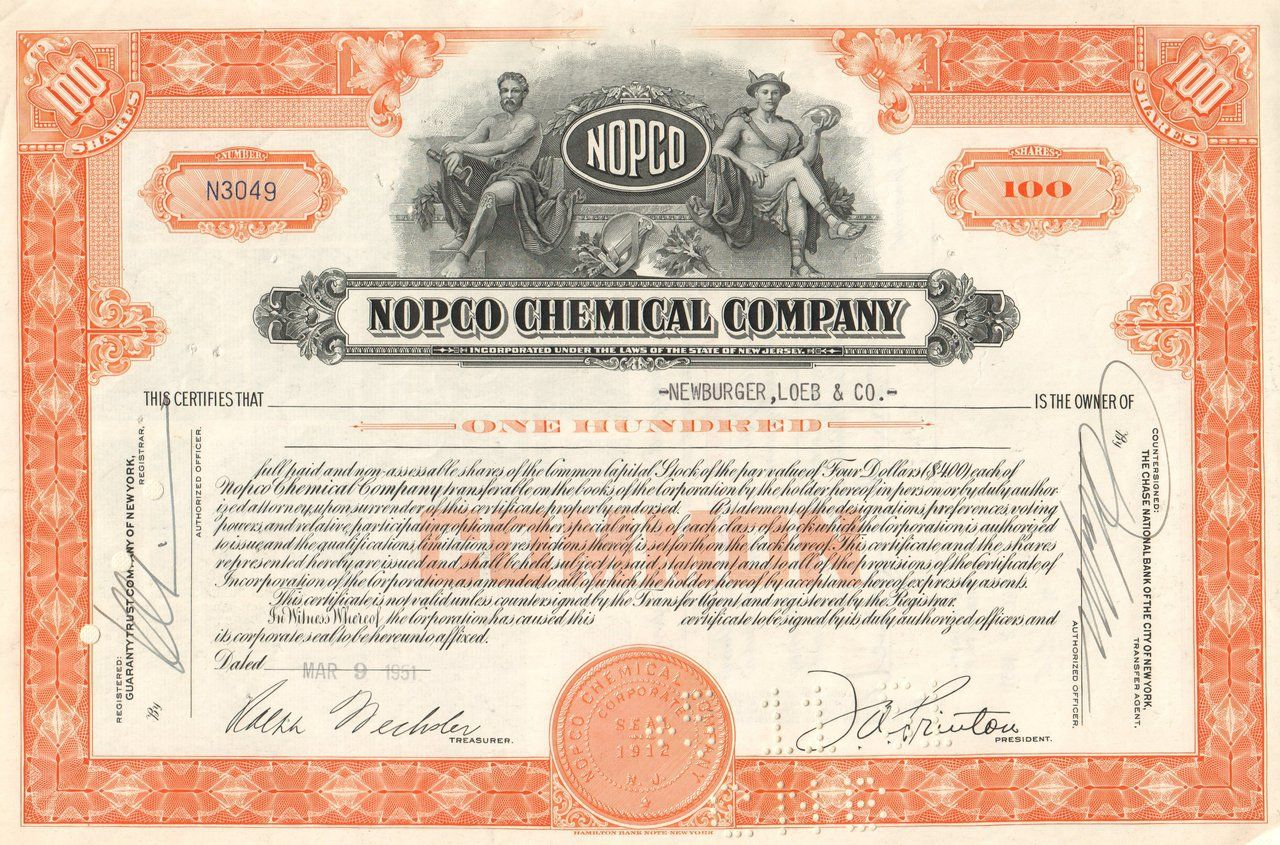 Nopco Chemical Company 1950 S Merged With Diamond Shamrock Stock Certificates Chemical Delaware City