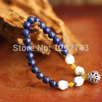 Hollow Ball Lapis Lazuli Strand Bracelets
