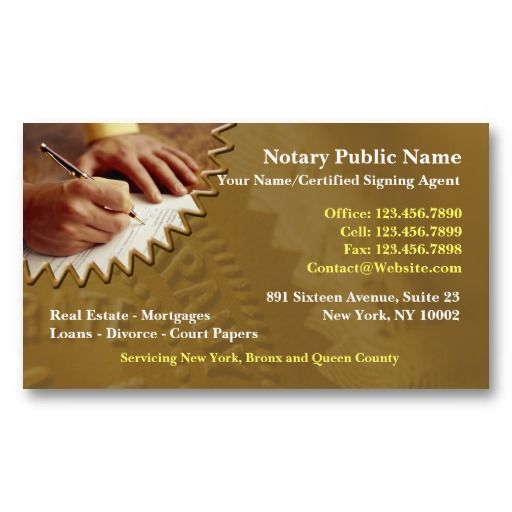 Notary Public Business Card Notary Public Business Cards