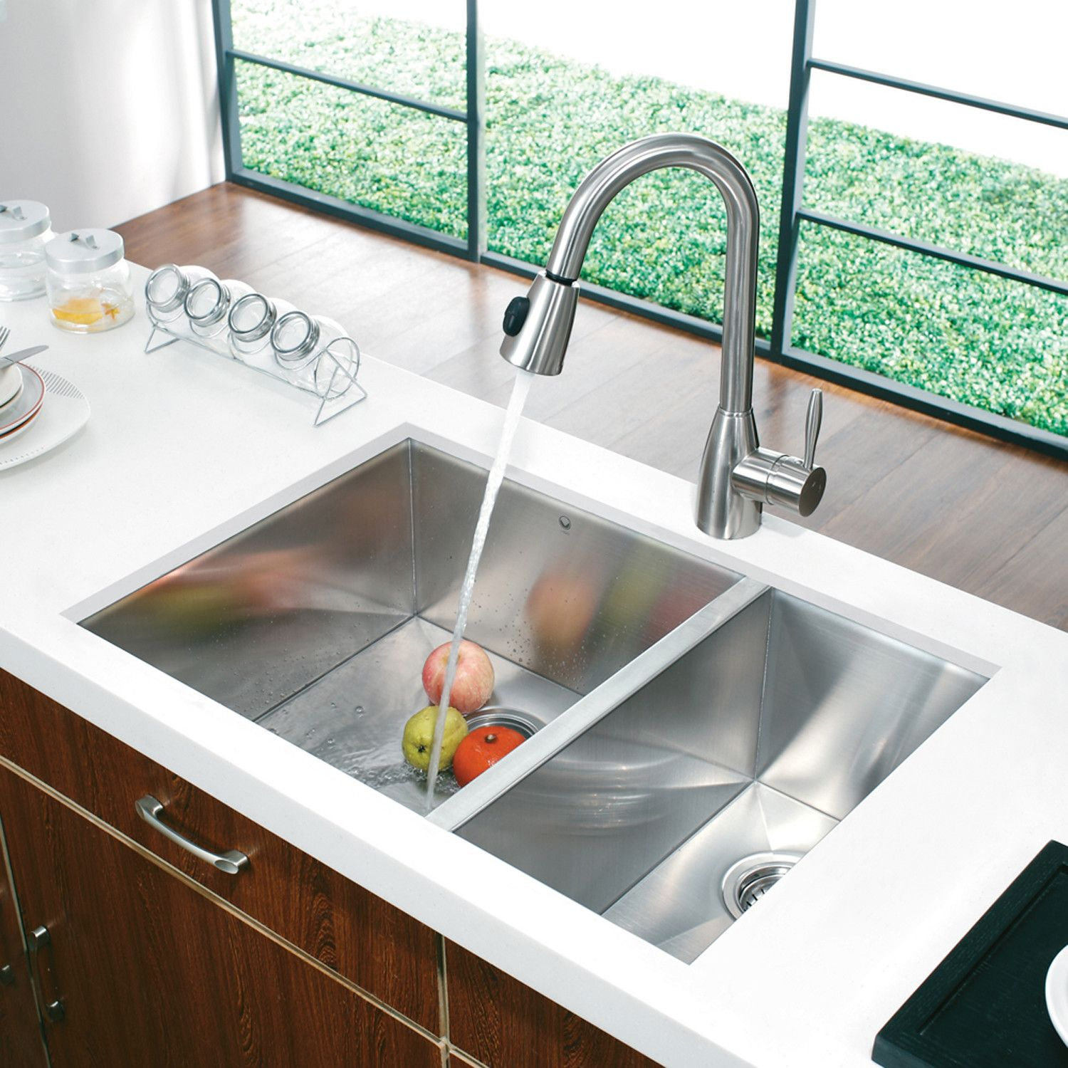 Kitchen Undermount Kitchen Sink With Series Handmade Double Bowl ...