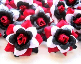 24 red black white rainbow mini roses heads artificial silk flower 24 red black white rainbow mini roses heads artificial silk flower inches wholesale lot for wedding work make clips headbands mightylinksfo