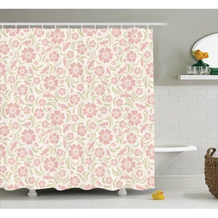 Buy House Decor Shower Curtain Set Vintage Old Fashioned Floral Pattern Silhouettes