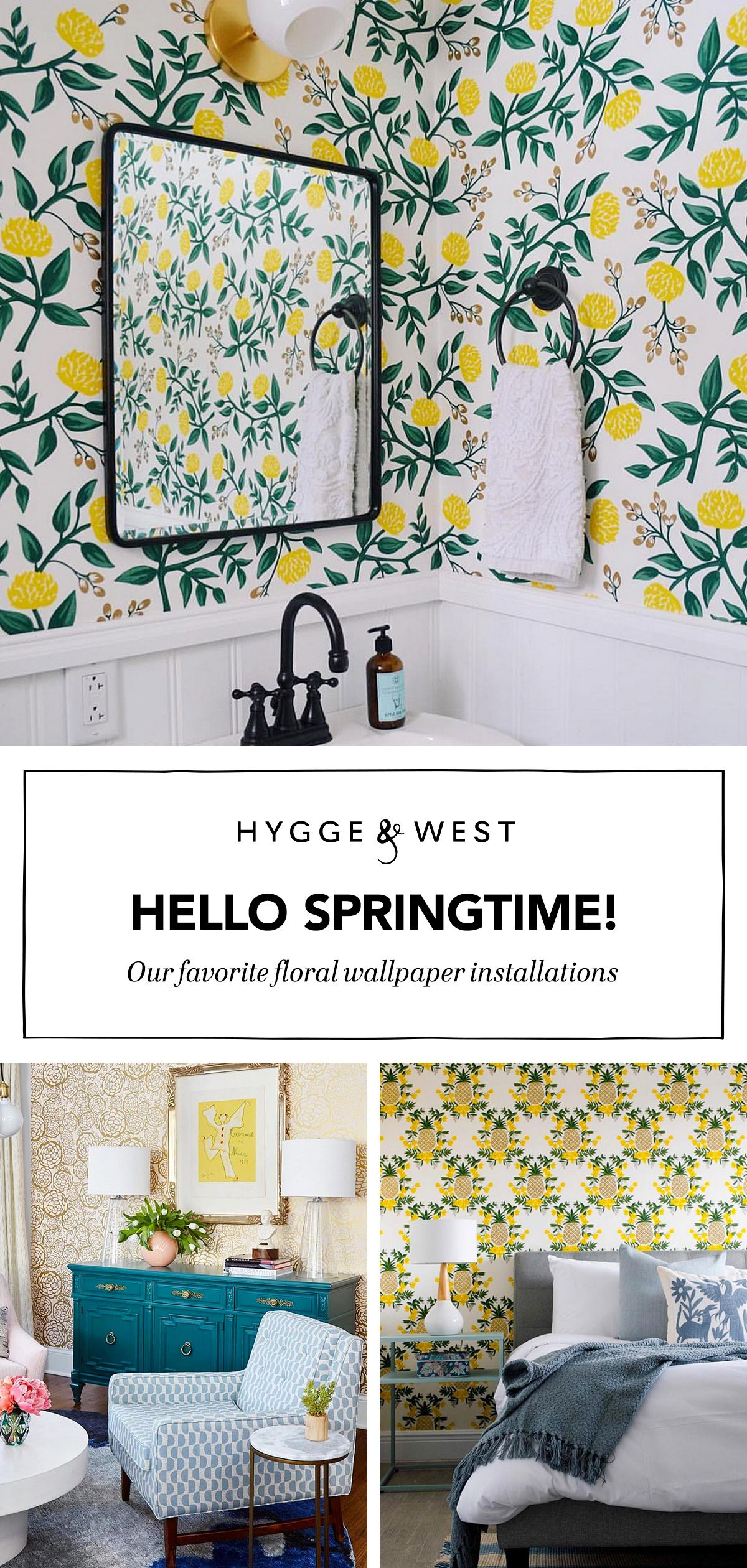 Springtime Florals Roundup Farmhouse Wallpaper Home Decor