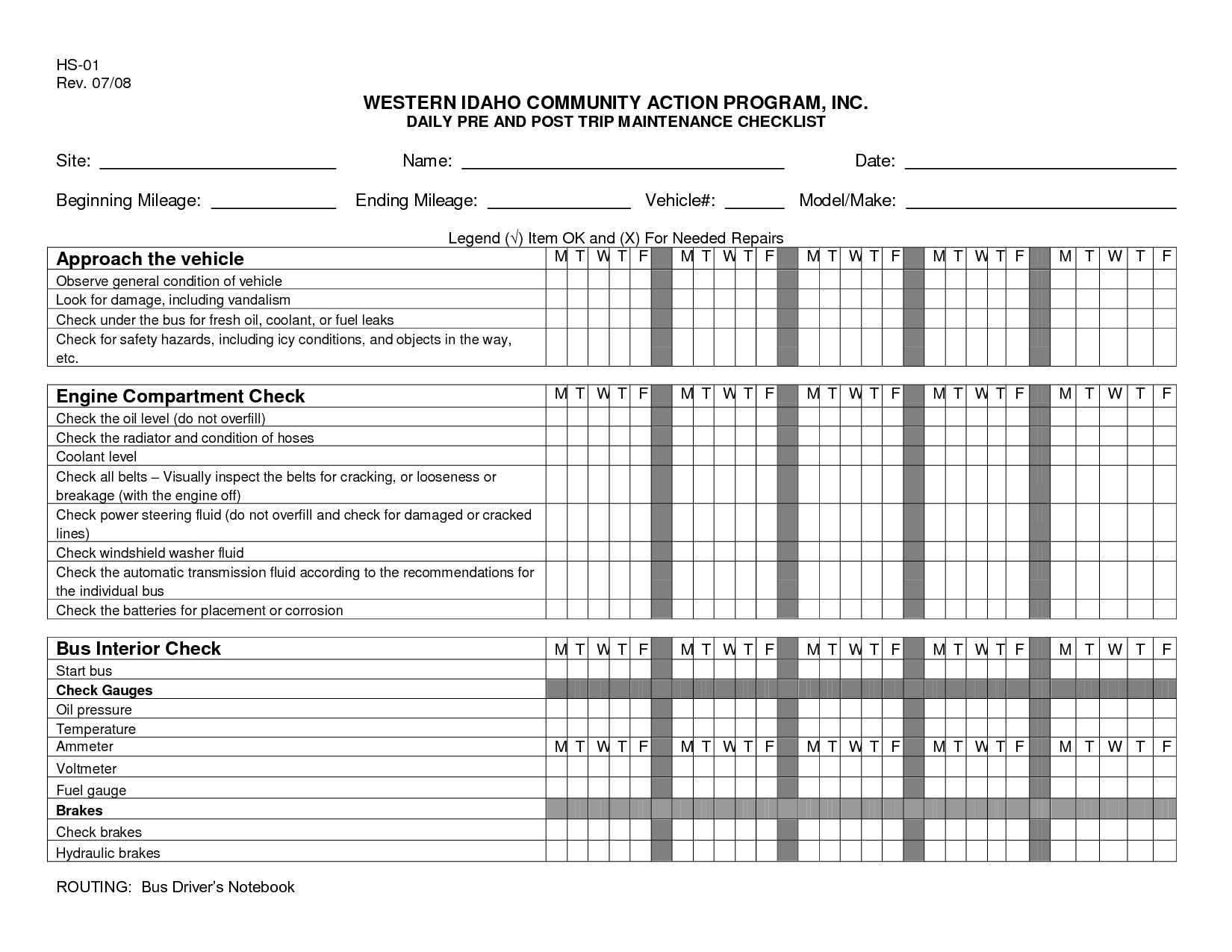 Daily Vehicle Maintenance Checklist Template
