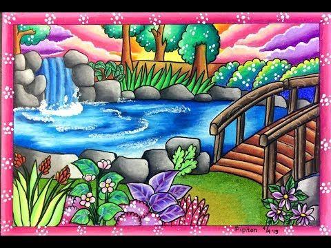 Cara Menggambar Pemandangan Air Terjun Kolam Dan Jembatan Youtube Painting Gambar Lukisan Akrilik Mudah
