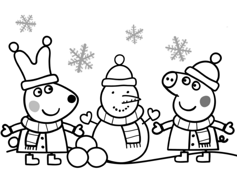 Gratis Kleurplaten Peppa Pig.Kleurplaat Peppa Pig Sneeuwpop Maken Peppa Pig Coloring