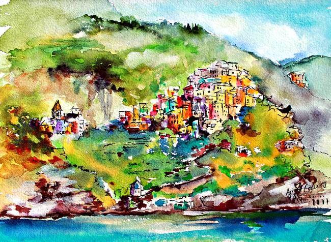 watercolour seaside