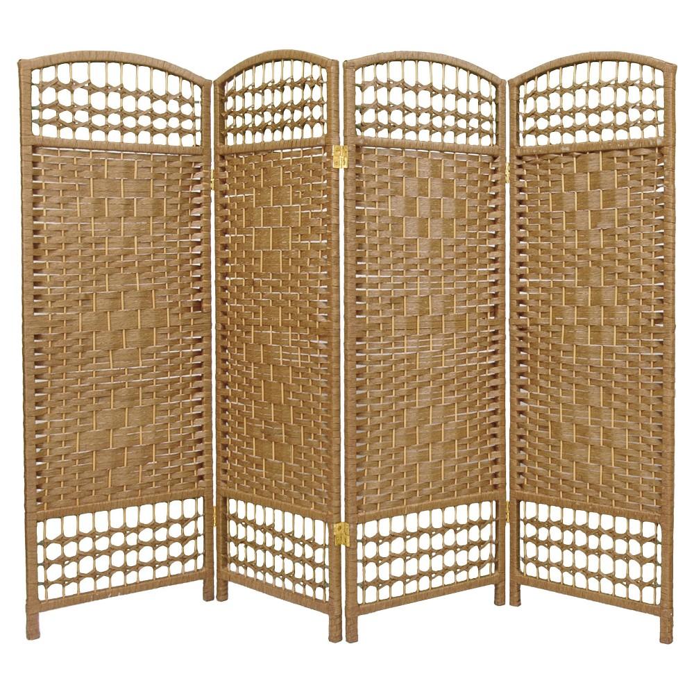 4 Ft Tall Fiber Weave Room Divider Natural 4 Panels Oriental