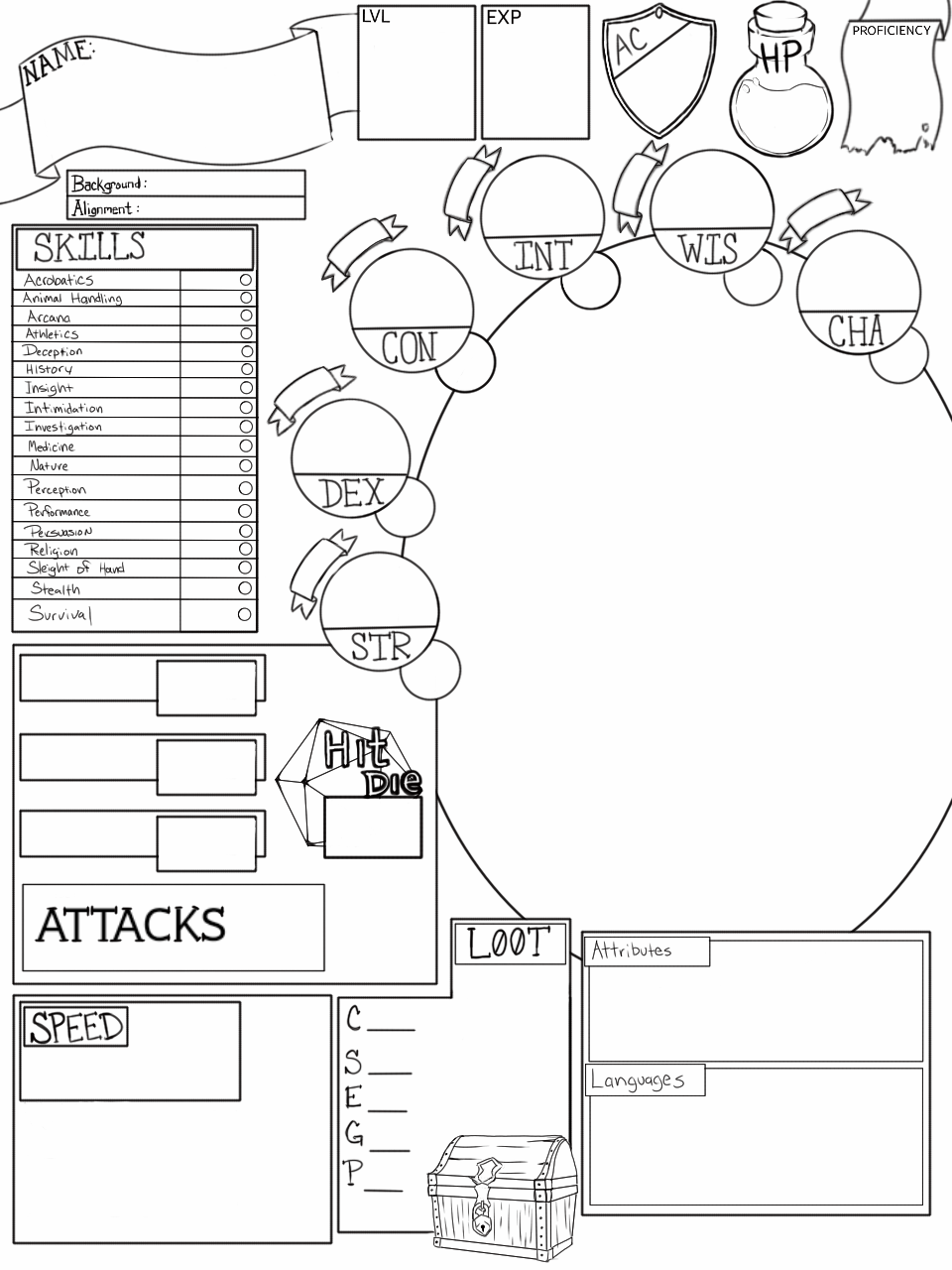 I designed a D&D 5e character sheet today. It has a blank
