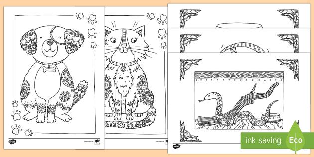 Pets Mindfulness Colouring Sheets Mindfulness Colouring Pets Animals Dog Cat Fish Snake Hamster Cute Calm Coloring Sheets Mindfulness Colouring Pets