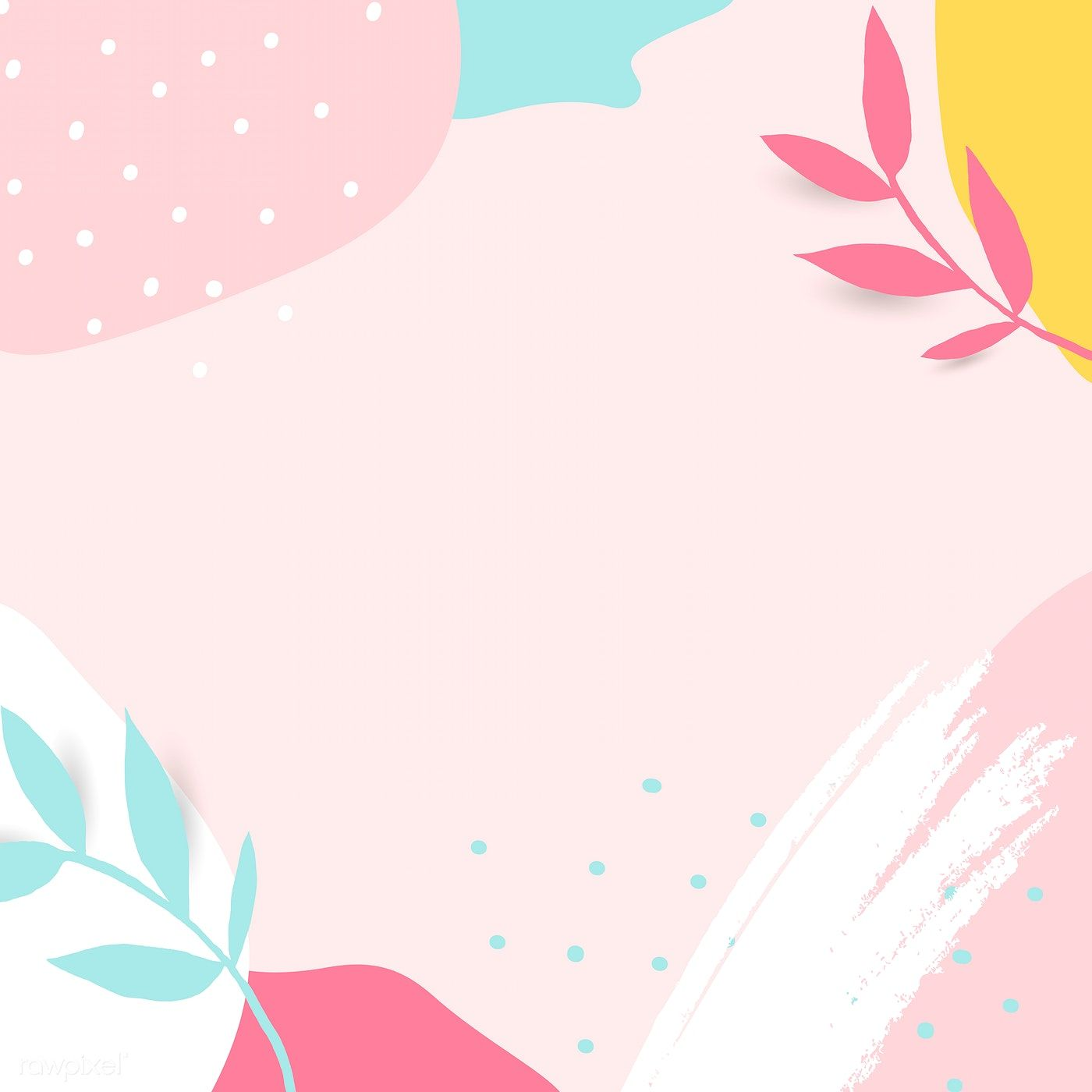 Download Premium Vector Of Colorful Leafy Memphis Frame Vector 1217074 Vector Background Pattern Graphic Design Background Templates Pastel Background Wallpapers