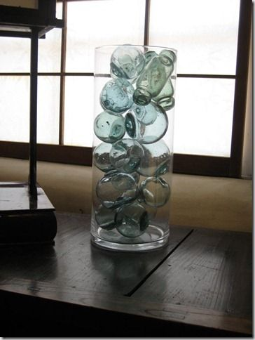 A Share Love This Easy Way To Display My Grandma S Collection Of Japanese Glass Balls Glass Fishing Floats Japanese Glass Fishing Floats Glass Floats