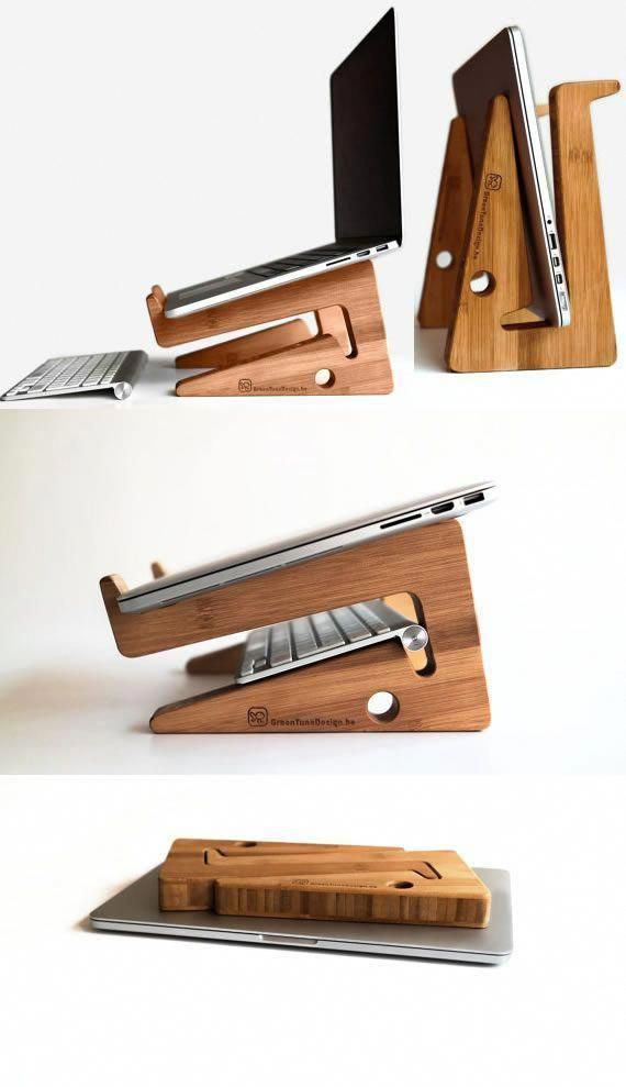 Bamboo Wooden Laptop Macbook Cooling Stand Holder Riser ...