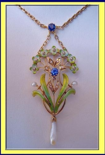 Antique, Art Nouveau pendant necklace. Made of 15carat gold, natural pearls, sapphires and enamelling. Made circa 1885-1910, probably in England.