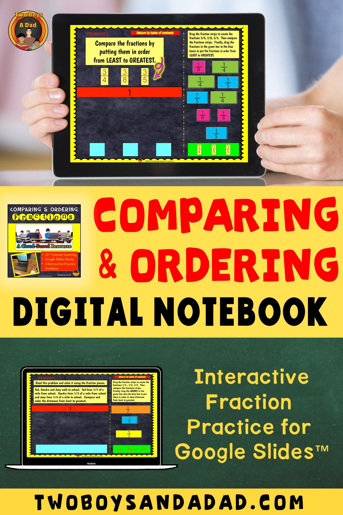 Comparing Fractions And Ordering For Slides For